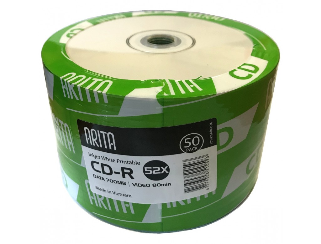 image about Inkjet Printable Cd titled Arita White Entire Deal with Inkjet Printable 52x CD-R inside of 50 Pack