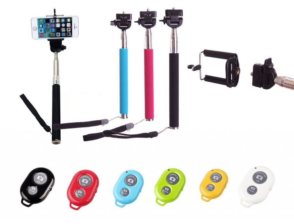 selfie stick monopod bluetooth shutter remote key chain blue digitalpromo. Black Bedroom Furniture Sets. Home Design Ideas