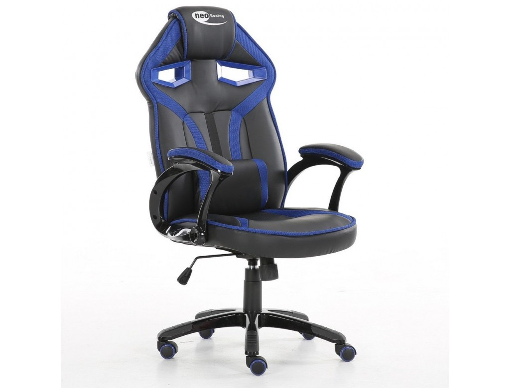 Swell Neo Morpheus Racing Bucket Gaming Chair Black Blue With Arm Rests Machost Co Dining Chair Design Ideas Machostcouk