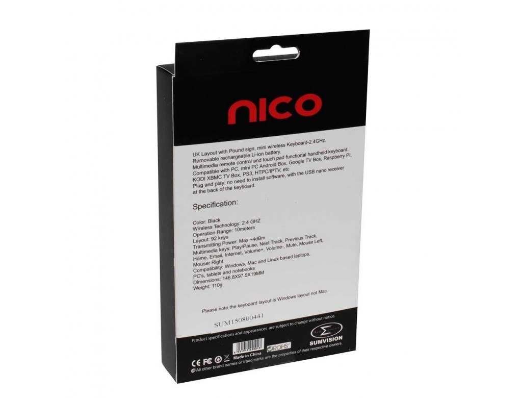 Sumvision NICO Wireless Multimedia Mini Keyboard & Touchpad Smart-pad  Smartphone Tablet, TV/Android Box etc