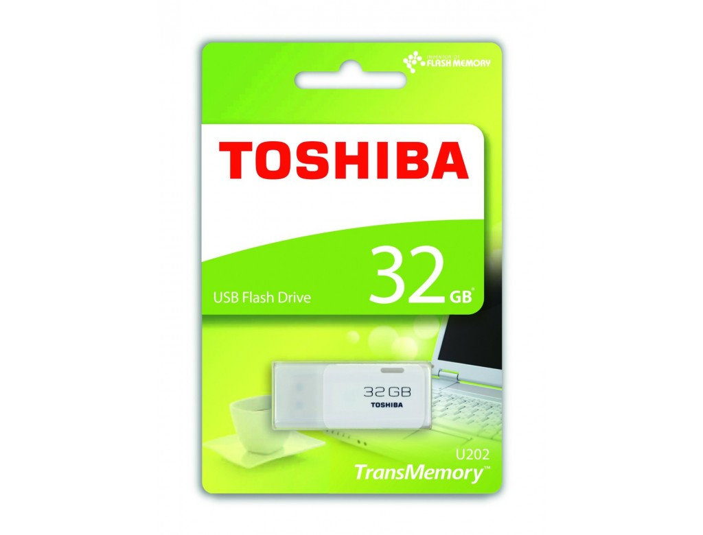 toshiba 32gb transmemory usb2 0 flash drive in white thn. Black Bedroom Furniture Sets. Home Design Ideas