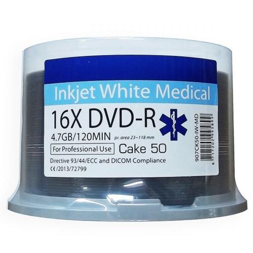Ritek MEDICAL Line White Inkjet Printable 16x DVD-R Discs - 50 Tub