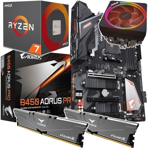 Performance Bundle: Ryzen 2700X 8-Core CPU with RGB Wraith Cooler, Gigabyte B450 AORUS Pro ATX Motherboard & Vulcan Z 16GB 3200MHz DIMM Memory (2x8GB)
