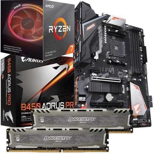 High Performance Bundle: Ryzen 3800X 8-Core CPU with RGB Wraith Cooler, Gigabyte B450 AORUS Pro ATX Motherboard & Crucial Ballistix DDR4 8GB 3000MHz  (2x8GB)