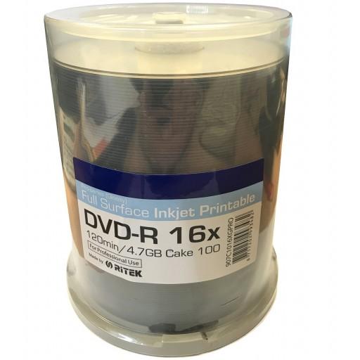 Ritek Pro Series White Glossy Inkjet Printable 16x DVD-R Discs - 100 Tub
