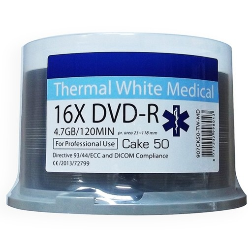 Ritek MEDICAL Line White Thermal Printable 16x DVD-R Discs - 50 Tub
