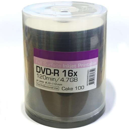 Ritek Excellence PRO-Series Hi Res Full Surface White Printable 16x DVD-R in 100 TUB