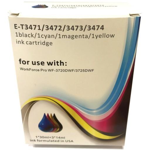 Epson E-3471-3474 - 4 Cartridge Compatible Ink Set for WorkForce WF-3720DWF, 3725DWF (34XL Golf Ball) -E-T3475