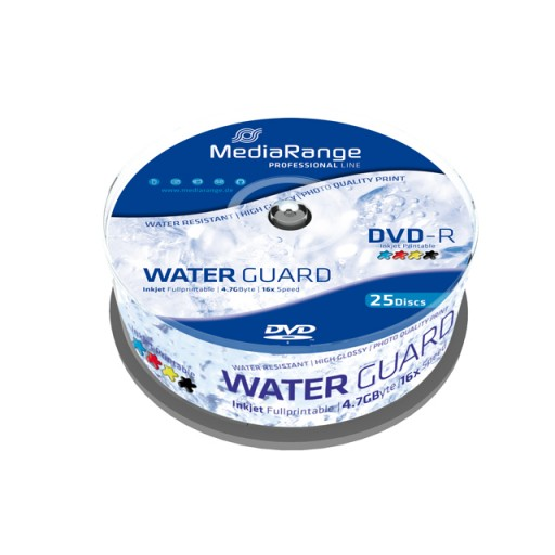 MediaRange MRPL612 Professional Line  WATERGUARD GLOSS Full Printable 16x DVD-R - 25 TUB