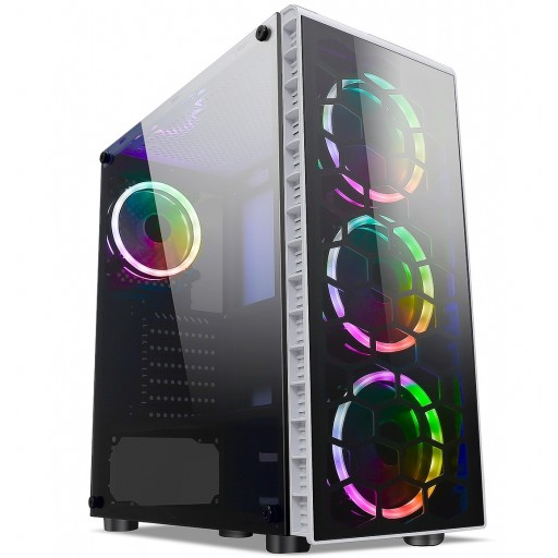 CiT Raider White Mid Tower PC Gaming Case with 4x RGB Halo Fans Tempered Glass Front & Side