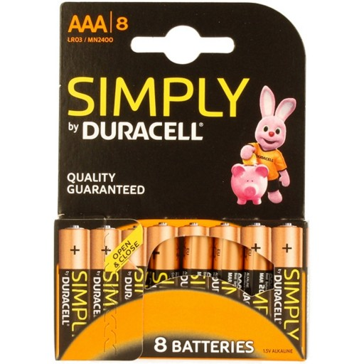 Duracell Simply Alkaline Pack of 8 AAA Batteries