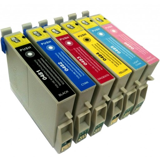 Compatible Epson T481 - T486 Ink Cartridge Set - 6 Inks - R200, R220 etc.
