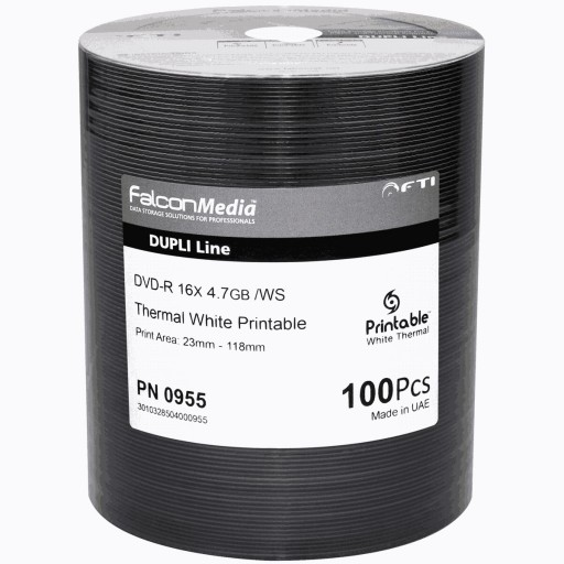 FalconMedia Pro DVD-R 16x FTI 4.7GB W/S Dupli-Line Thermal White Printable - Spindle 100
