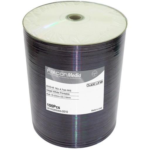 FalconMedia Pro DVD-R 16x FTI 4.7GB W/S Dupli-Line Inkjet White Printable Spindle 100