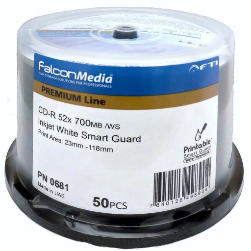 FalconMedia Pro CD-R 52x FTI 700MB W/S Premium LIne SMART GUARD Inkjet White Printable Cake 50