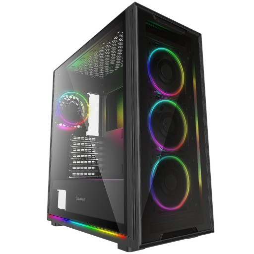 GameMax View ARGB Sync Gaming Gaming Case, 2x LED Strips 4x Fans 3pin Hub, Glass Front / Side