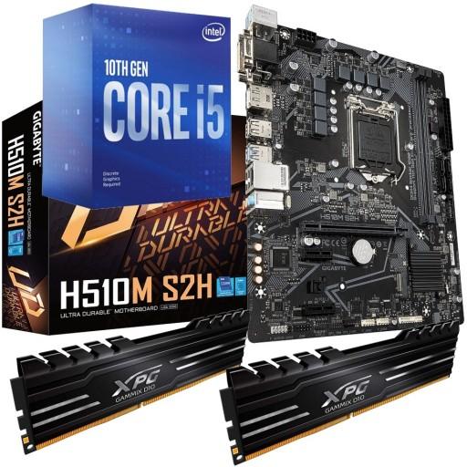 Intel Comet Lake Bundle: Intel Core i5 10400F Six Core 10th Gen. CPU, Gigabyte H510M S2H mATX Motherboard & XPG Gammix 16GB DDR4 3200MHz Memory (2x8GB)