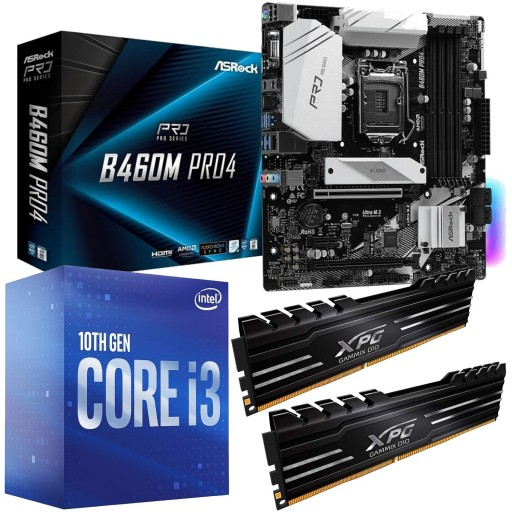 Intel 10th Gen Comet Lake Bundle: Intel Core i3 10100 Quad Core 10th Gen. CPU, ASRock Intel B460M Pro4 mATX Motherboard & Adata Gammix D10 16GB DDR4 3000MHz Memory (2x8GB)