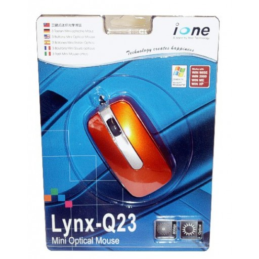 Ione Lynx Q23 Camel Gold (Orange) PS2/USB 3 Button Optical Minimouse - Retail