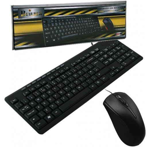 Builder Wired USB Keyboard & Mouse Combo Set Black