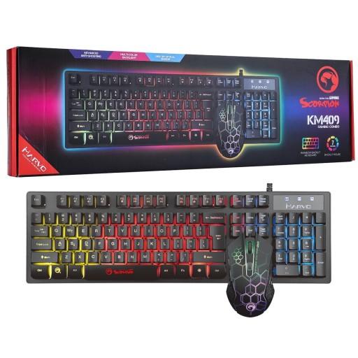 Marvo Scorpion KM409 7 Colour Rainbow LED USB Gaming Keyboard & Mouse Combo Set