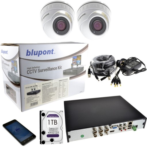 Blupont B-Secure 5MP 4 Channel DVR 1TB 2 x 5MP IP66 Camera CCTV Kit