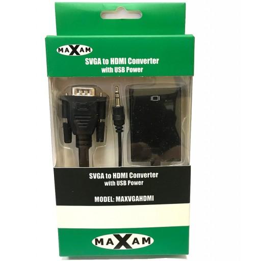 Maxam VGA, SVGA to HDMI Converter with USB Power