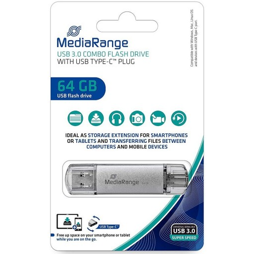 MediaRange MR937 64GB USB3.0 Combo Flash Drive with USB Type-C Plug