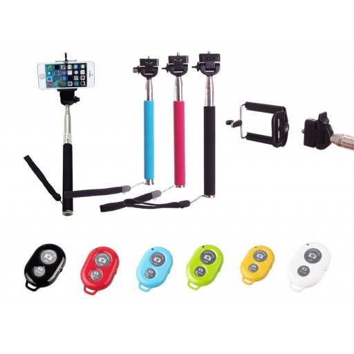 Selfie Stick Monopod + Bluetooth Shutter Remote Key Chain - iPhone, Android etc - BLUE