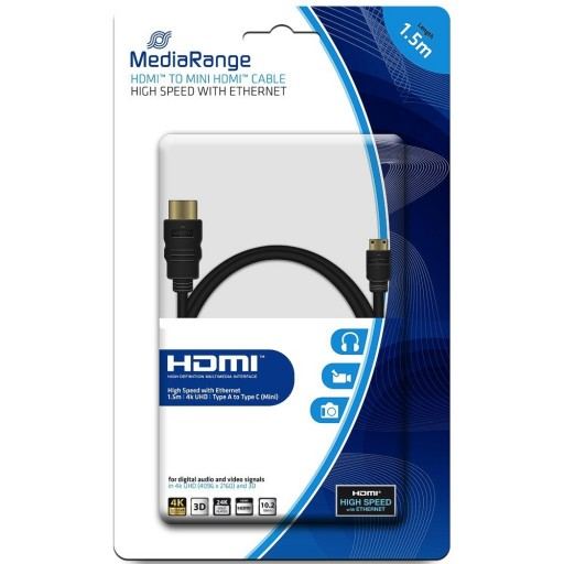 MediaRange MRCS165 Premium HDMI 1.4 Male Cable to - MINI HDMI Male with High Speed Ethernet - 1.5m
