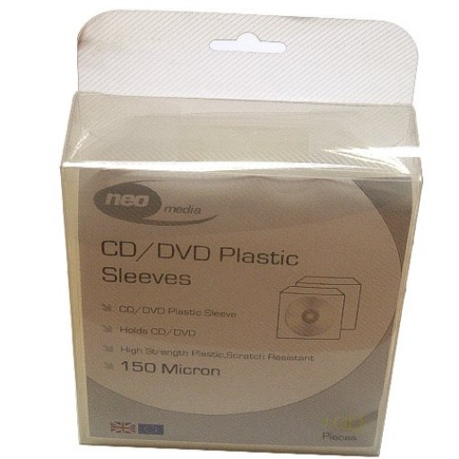 Neo Media SUPER Heavy Weight 150 Micron Plastic CD/DVD Wallets with Flap - 100 PACK