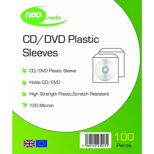 Neo Media Plastic CD/DVD Wallets (100 micron) with Flap - 100 PACK