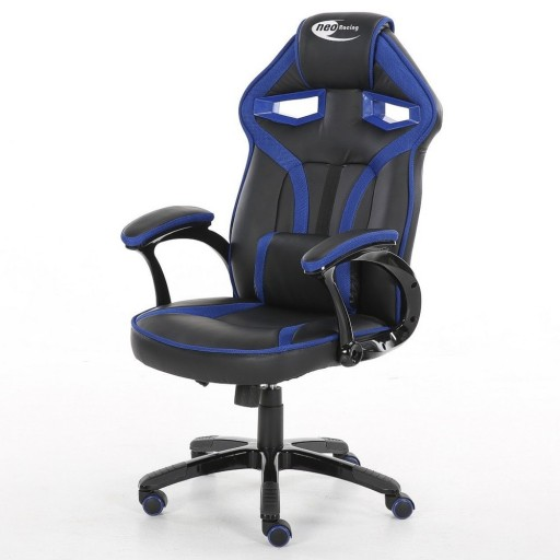 Neo Morpheus Racing Bucket Gaming Chair Black / Blue with Arm Rests