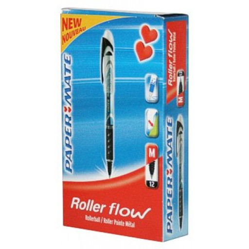 """CLEARANCE """"A"""" - PaperMate Roller Flow Pens BLACK (BOX OF 12)"""