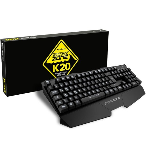 Sharkoon SHARK ZONE K20 Gaming Keyboard with LED Lighting, Complete Metal Housing