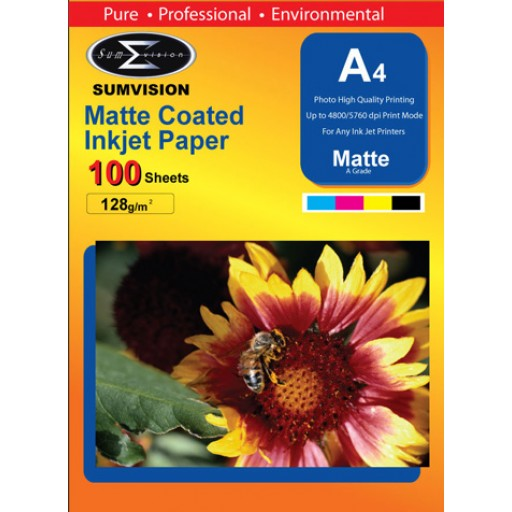 Sumvision Matt White Photo Inkjet Paper A4 128gsm - 100 SHEETS