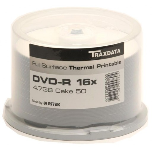 Traxdata Ritek Full Face THERMAL Printable 16x DVD-R in 50 TUB