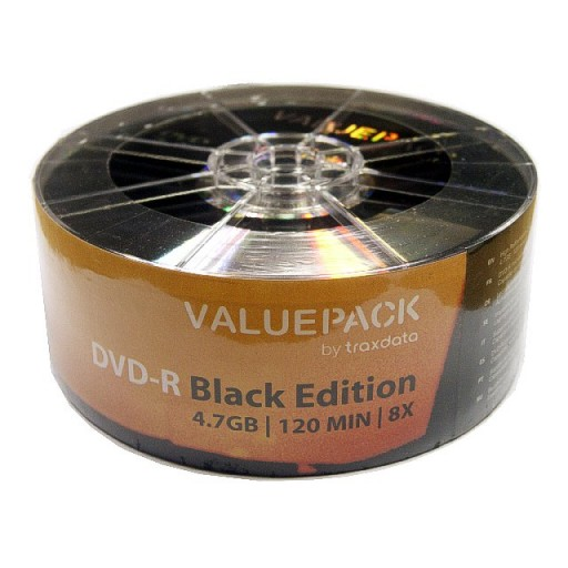 Traxdata ValuePack BLACK EDITION 8x DVD-R - 25 Pack