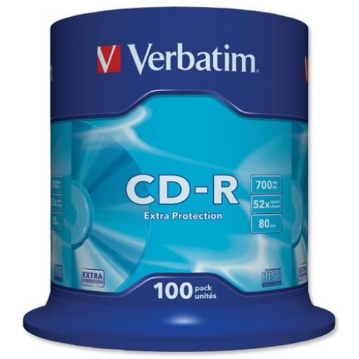 Verbatim 43411 Extra Protection 52x Speed 80min CD-R - 100 TUB