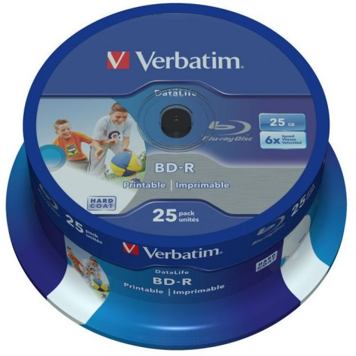 Verbatim 43811 Blu-ray Datalife BD-R 6x Inkjet Printable 25GB in 25 TUB