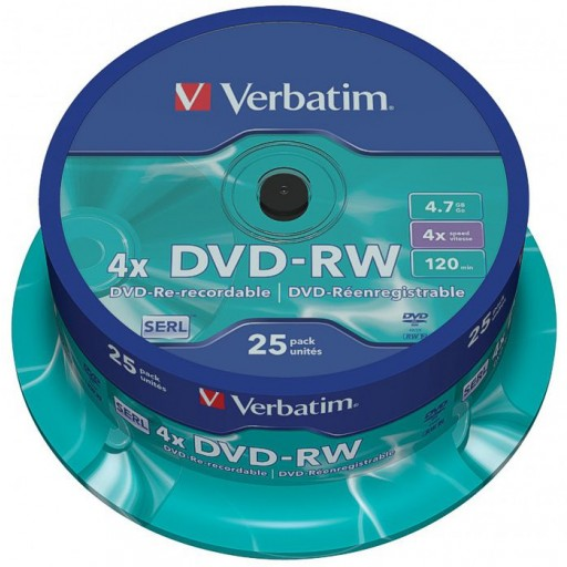 Verbatim 43639 DVD-RW (Re-Writable) Branded 4.7GB Storage Media - 25 TUB