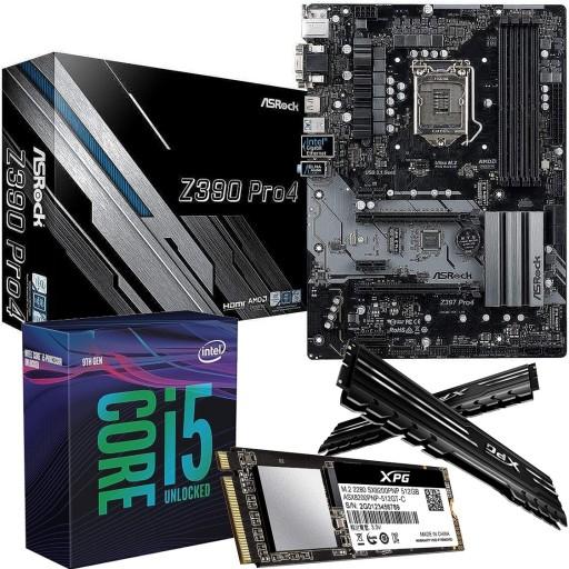 Intel Bundle: Intel i5 9600K Six Core CPU, ASRock Z390 Pro4 ATX Motherboard, XPG Gammix 16GB DDR4 3200MHz Memory (2x8GB) & XPG SX8200 512GB M.2 NVMe SSD