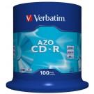 Verbatim 43430 AZO Crystal 52x Speed 80min CD-R - 100 TUB