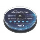 MediaRange MR501 Blu-ray BD-RE 25GB Re-writable 2x Speed Disc - 10 TUB