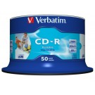 Verbatim 43438 AZO WHITE FULL FACE INKJET PRINTABLE 52x Speed 80min CD-R - 50 TUB