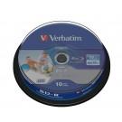 43804 Verbatim 6x Printable Blu-Ray Disc 25GB 10 Pack Cake Box - Verbatim 43804