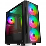 CiT Flash PC Gaming Case with 4x ARGB LED Fans Tempered Glass Window