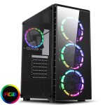 CiT Raider Mid Tower PC Gaming Case with 4x RGB Halo Fans Tempered Glass Front & Side