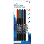 MediaRange MR704 Permanent CD/DVD Writing Pens (5 PACK - 4 Colour + 1 Eraser)