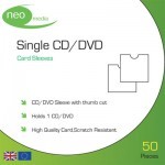 Neo Media Cardboard Single CD/DVD Protective Sleeve with Thumbcut - 50 PACK